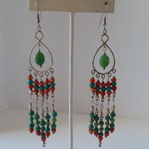 925 Silver Turquoise & Orange Heishi Earrings